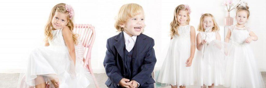 Kindermode, bruidsmeisjes, bruidsjonker, kinderen van de bruid